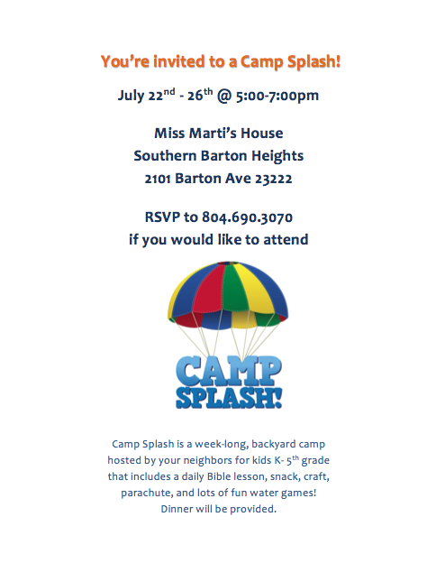 Camp Splash Flyer - Front