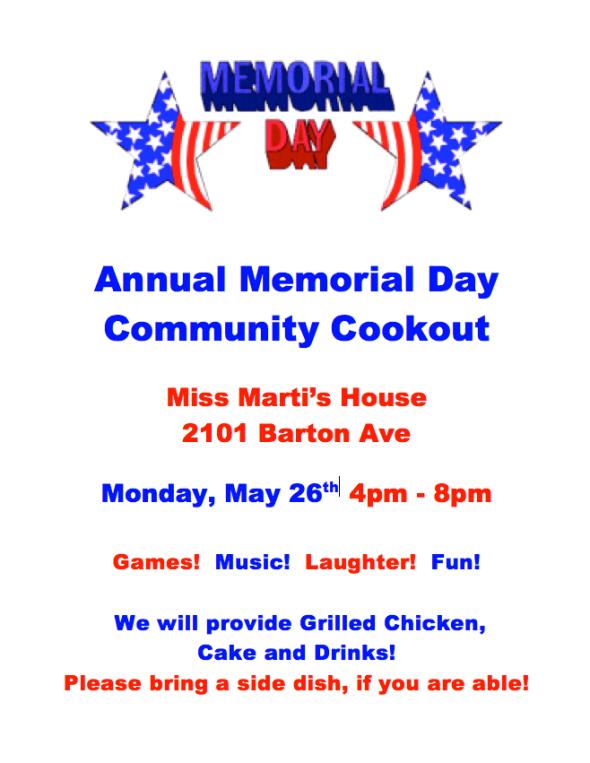 Memorial Day Flyer 2014